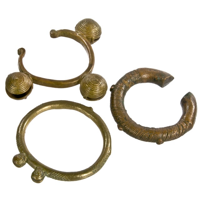 Image of Moroccan Brass & Copper Decorative Bracelets - S/3