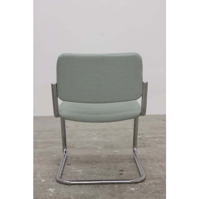 Image of Cantilevered Chrome Dining Chairs - Set of 4