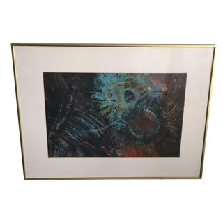 Fern Samuels Arc Gallery Turquoise Flower Painting