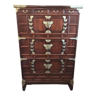 Antique Korean White Brass Butterfly Accent 3 Door Chest