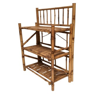 Vintage Bamboo Three Tier Shelves