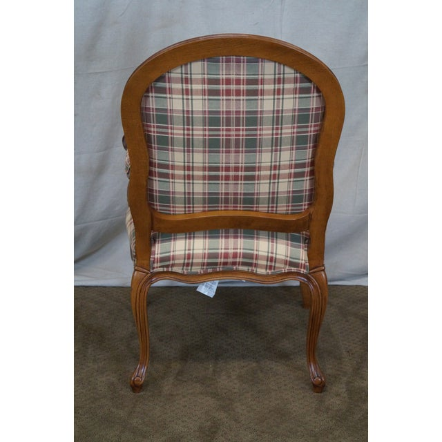 Image of Fairfield French Style Plaid Upholstered Arm Chair