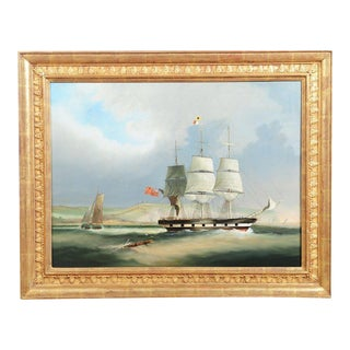 English Sail Boat - 19th Century Oil Painting