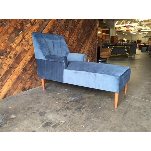 Mid Century Reupholstered Tufted Extended Lounge Chair - Image 2 of 7