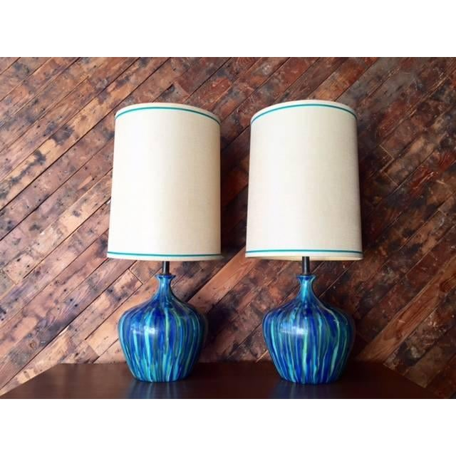 Mid-Century Ceramic Drip Glaze Lamp - Just 1 Available - Image 2 of 6