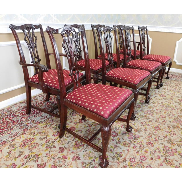 Chippendale Mahogany Dining Room Chairs: 1980s Chippendale Style Mahogany Department Store Dining