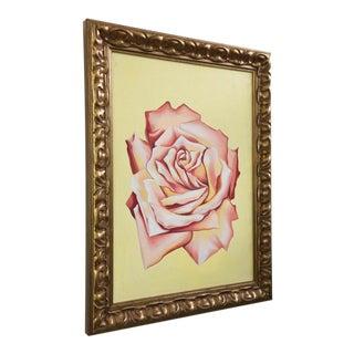 "Lowell Nesbitt Oil on Canvas ""Light Pink Rose,"" USA 1979"