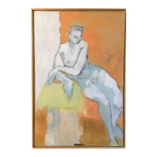 Large Vintage Mid Century Modern Abstract Nude Oil Painting