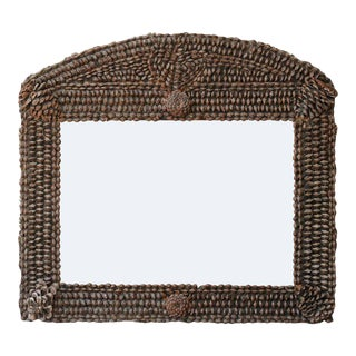 French Pine Cone Horizontal Mirror with Arched Crest from the Mid-19th Century