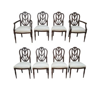 Faux Painted Sheraton Style Shield Back Dining Chairs by Pama - Set of 8