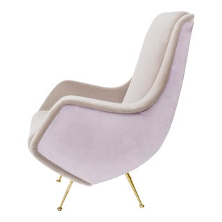 1950's ISA Aldo Mordelli Italian Mid-Century Mauve Velvet Sculpted Armchair