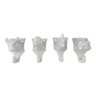 Vintage Ceramic Animal Hooks - Set of 4