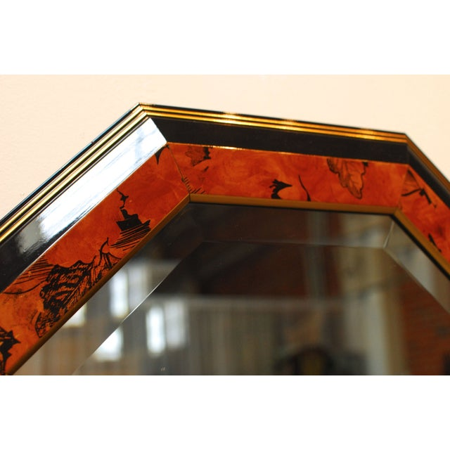 Black Lacquer Octagonal Mirrors by Dolbi - A Pair - Image 4 of 5