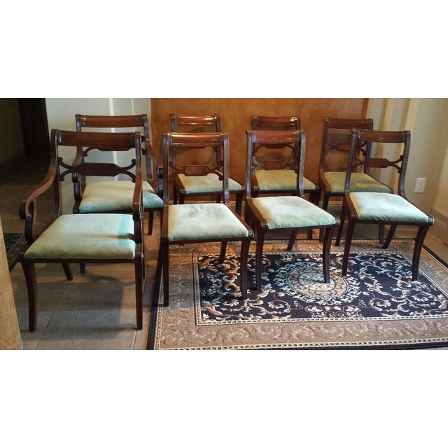Regency antique dining room chairs set of 8 chairish for Regency dining room