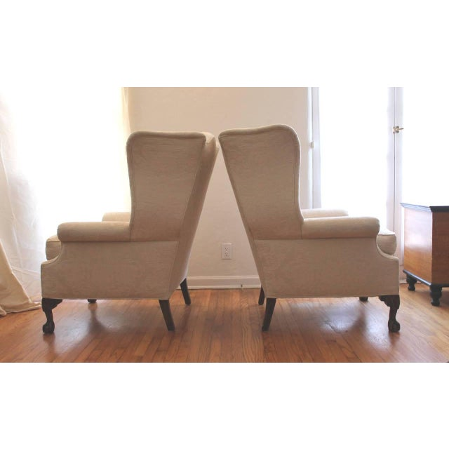 Pair of Monumental Damask Wing Chairs - Image 4 of 6