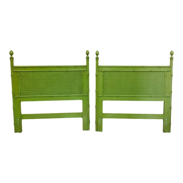 Vintage Green Faux Bamboo Twin Beds - a Pair - Image 1 of 9