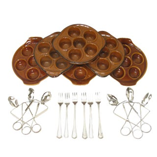 Vintage French Escargot Service - Set of18