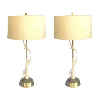 Mid-Century Modern Sculpted Brass Lamps with Original Shades - A Pair