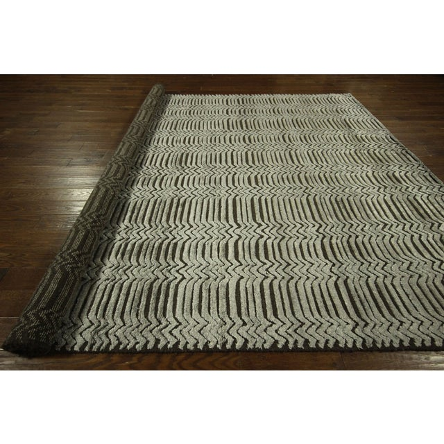 "Modern Silk Rug: Modern Wool & Silk Area Rug - 9'4"" X 12'1"""