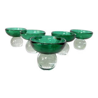 Emerald Green Sherbet Bowls by Erickson Glass Co. -- Set of 5