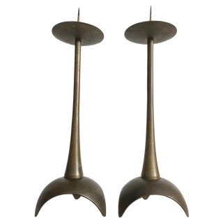Modernist Tall Pricket Candlesticks, a Pair