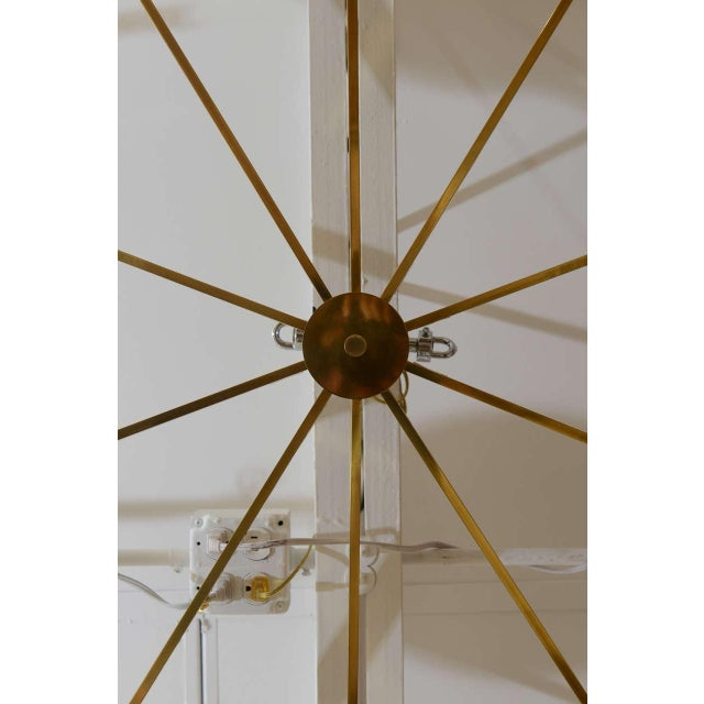 Mid-Century Modern Ten-Opaline Shade Chandelier in the style of Arredoluce - Image 5 of 10