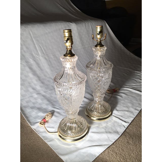 Vintage Crystal and Silk Shantung Table Lamps - 2 - Image 2 of 9