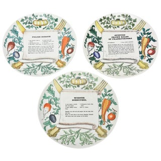"Set of Three Italian Unusual Fornasetti ""Recipe"" Porcelain Plates"