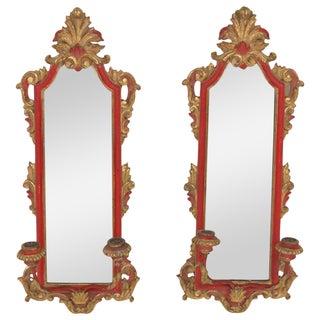 Italian Florentine Gilt Mirrored Sconces - A Pair