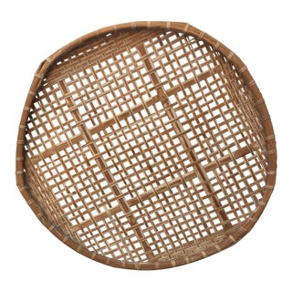 Giant Vintage Bamboo Winnowing Fish Drying Wall Basket