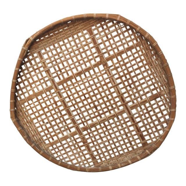 Giant Vintage Bamboo Winnowing Fish Drying Wall Basket - Image 1 of 7