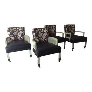 Mid-Century Black Floral Dining Chairs - Set of 4