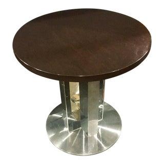 Modern Polished Steel & Dark Walnut Pedestal Table