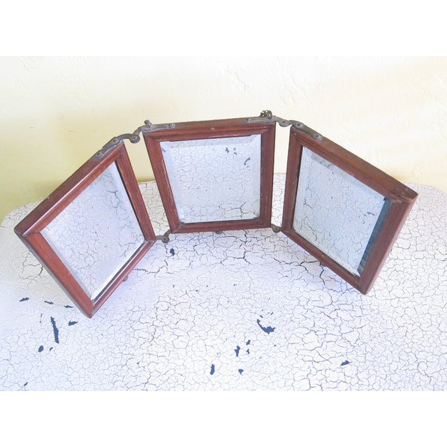 Victorian Antique Tri-Fold Wooden Travel Mirror - Image 3 of 11