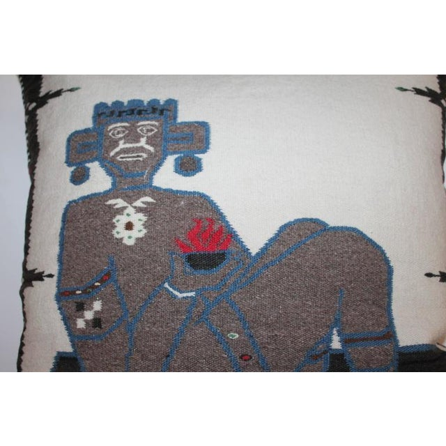 Image of Monumental Chac Mool Mexican/American Indian Weaving Pillow