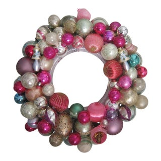 Vintage Pink Ornament Christmas Wreath