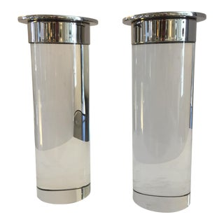Nickel & Crystal Candle Holders - A Pair