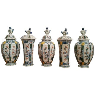 Dutch Delft Garniture of Five Vases and Covers