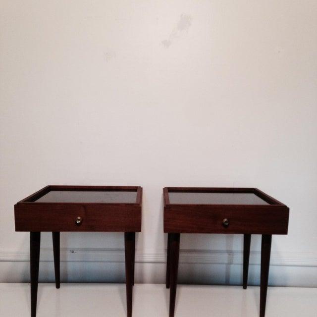 Mark Adam Mid-Century Walnut Folding Tables - Pair - Image 4 of 7