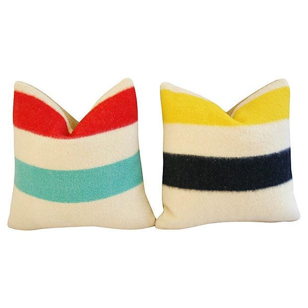 Authentic Hudson's Bay Blanket Pillows - a Pair - Image 2 of 7