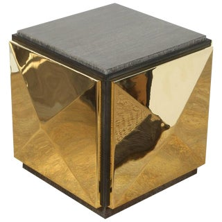 Paul Marra Brass Tile Side Table