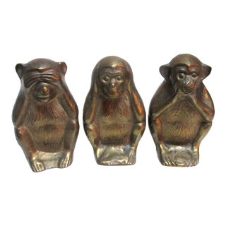 Vintage Brass Wise Monkey Decorative Figures - Set of 3