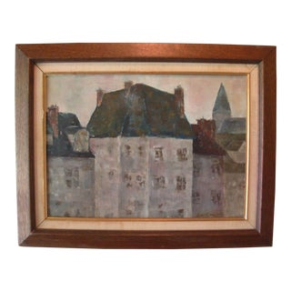 Mid-Century Modernist French Cityscape Painting
