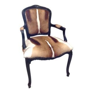 Vintage Springbok Hide Carved Chair