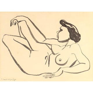 Vintage 1951 Nude in Repose Ink on Paper Drawing