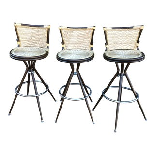Mid-Century Modern Swivel Bar Stools - Set of 3
