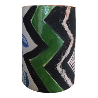 Contemporary Patterned Ceramic Cylinder