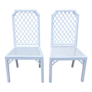 Vintage Lattice Back Chairs - a Pair