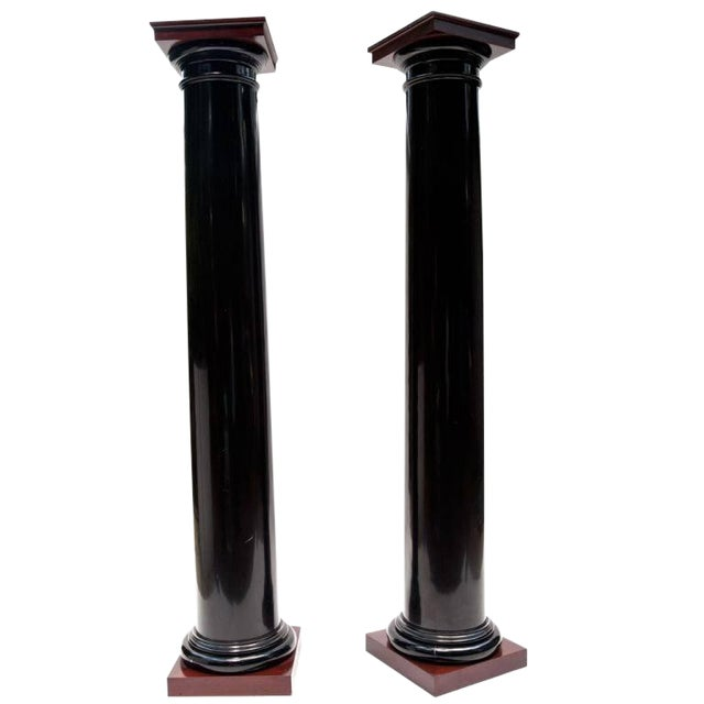 Image of Black Lacquer Wood Columns with Mahogany Caps and Bases