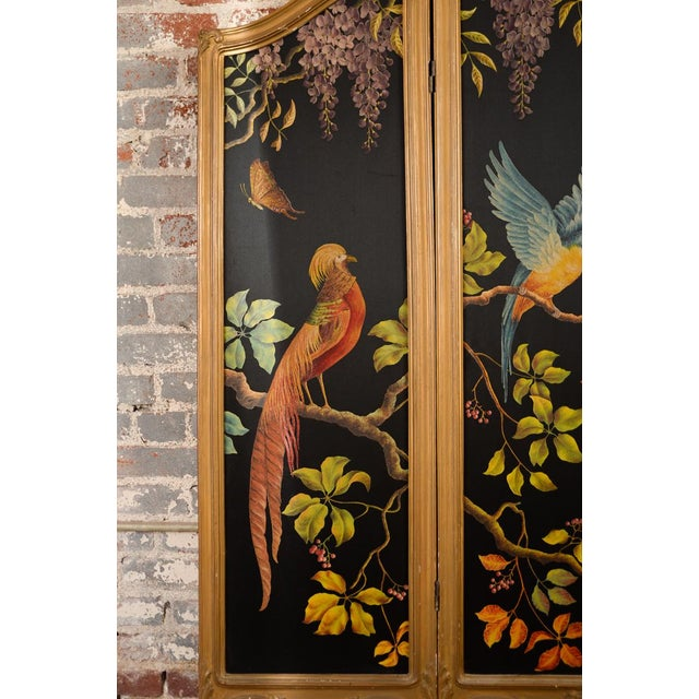 French Three-Panel Parrot Motif Screen - Image 5 of 11